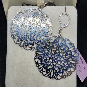 Garold C Miller Intricate Earrings Silver Tone